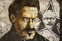 Mural of Leon Trotsky showing him as both a young and older man, Museo Casa de Leon Trotsky or Leon Trotsky House Museum in Coyoacan, Mexico City