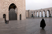The Hassan II Mosque, a religious building in Casablanca, Morocco. It is the largest mosque in the country and the 7th largest mosque in the world.