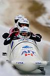 20 November 2005: Serge Despres, pilot of the Canada 2 sled, crosses the finish line for a 19th place finish at the 2005 FIBT AIT World Cup Men's 4-Man Bobsleigh Tour at the Verizon Sports Complex, in Lake Placid, NY. Mandatory Photo Credit: Ed Wolfstein.