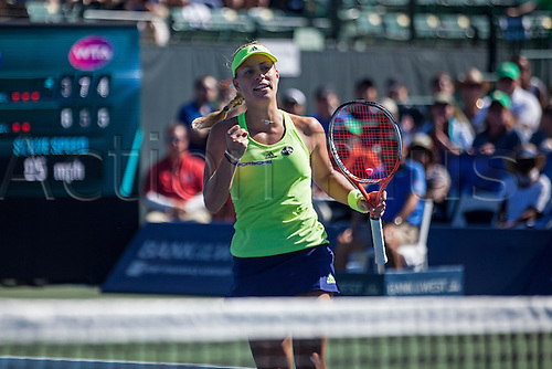 09.08.2015. Stanford, California, USA.  Angelique Kerber (GER) reacts to a play during the finals of the Bank of the West Classic at Stanford University's Taube Family Tennis Center in Stanford, Calif. Kerber, seeded 5th in the tournament, defeated Karolina Pliskova (CZE), who was seeded 4th, to become the 2015 Bank of the West Classic Champion.