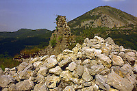 Castle Ruins on a Mountainside near Thebe, France.  Very little of the structure still remained.
