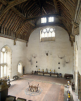 The 14th century Baron's Hall at Penshurst features a 60-foot-high chestnut wood roof in a perfect state of preservation