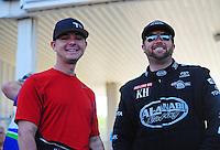 May 6, 2012; Commerce, GA, USA: NHRA top fuel dragster driver Steve Torrence (left) with Shawn Langdon during the Southern Nationals at Atlanta Dragway. Mandatory Credit: Mark J. Rebilas-