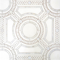 Augustus, a handmade mosaic shown in honed Thassos, polished Thassos and Shell. Designed by Sara Baldwin Designs for New Ravenna.<br />