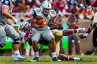 TALLAHASSEE, FLA 9/10/16-Florida State's Derrick Nnadi sacks Charleston Southern quarterback Robert Mitchell for six yards during second quarter action Saturday at Doak Campbell Stadium in Tallahassee. <br /> COLIN HACKLEY PHOTO