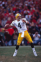 SAN FRANCISCO, CA:  Brett Favre of the Green Bay Packers in action during the NFC Championship game against the San Francisco 49ers at Candlestick Park in San Francisco, California in 1998. (Photo by Brad Mangin)
