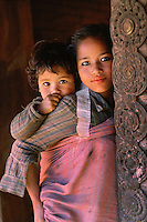 Sisters, Bhaktapur, Nepal 1990.<br />
