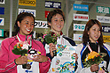 (L to R) Hanae Ito, Tomoko Hagiwara, Rina Oshikawa, FEBRUARY 11, 2012 - Swimming : The 53rd Japan Swimming Championships (25m) .Women's 50m Freestyle Victory Ceremony .at Tatsumi International Swimming Pool, Tokyo, Japan. (Photo by YUTAKA/AFLO SPORT) [1040]