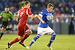 07 December 2012: Creighton's Zach Barnes (right) and Indiana's Harrison Petts (7). The Creighton University Bluejays played the Indiana University Hoosiers at Regions Park Stadium in Hoover, Alabama in a 2012 NCAA Division I Men's Soccer College Cup semifinal game.