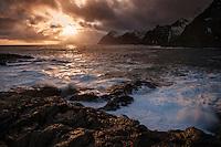 Sunset at Å, Moskenesøy, Lofoten Islands, Norway