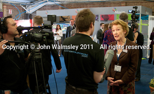Amanda Cottrell from Visit Kent (tourist information service) being interviewed, Kent2020Vision show, County Showground, Kent.