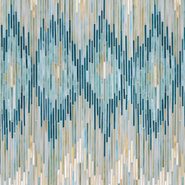 Loom, a hand-cut jewel glass mosaic, shown in Quartz, Aquamarine, Tanzanite and Turquoise, is part of the Ikat Collection by Sara Baldwin for New Ravenna Mosaics.<br />