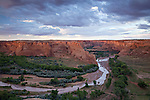 Heavy rains from a summer monsoon storm floods the typically dry Chinle Wash running through Canyon de Chelly, as seen from Tsegi Overlook