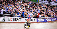 Picture by Alex Whitehead/SWpix.com - 04/03/2016 - Cycling - 2016 UCI Track Cycling World Championships, Day 3 - Lee Valley VeloPark, London, England - Great Britain's Jon Dibben celebrates winning Gold in the Men's Points Race.