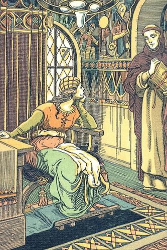 Alegoría de un monge Franciscano impartiendo instrucciones a una dama. © J. Triado, tipografía a ocho tintas.
