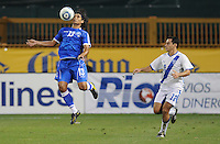 El Salvador defender Deris Umanzor (12) chests the ball against Guatemalan midfielder Carlos Figueroa (12)    The Guatemalan National Team defeated  El Salvador National Team 2-0 in a friendly international at RFK Stadium, Saturday September 7, 2010.