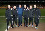 St Johnstone v Rangers&hellip;28.12.16     McDiarmid Park    SPFL<br />Beards for Bairns charity, from left, Alex Headrick, Callum Davidson, Tommy Wright, Tony Tompos, Alec Cleland and Paul Mathers<br />Picture by Graeme Hart.<br />Copyright Perthshire Picture Agency<br />Tel: 01738 623350  Mobile: 07990 594431