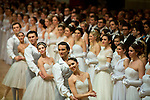May0060348 . Daily Telegraph<br /> <br /> Debutantes lined up on the dance floor for the opening of the Vienna Opera Ball, an annual Austrian society event which started in 1935 but was suspended during WWII .<br /> Tickets to the ball start at &euro;270 and a box in the Opera House costs more than &euro;20,000.<br /> It is one of the most exclusive events in the Viennese social calendar and is always kicked off with 186 debutantes and their partners dancing the opening waltz but also attracts celebrities from across the globe .<br /> <br /> Vienna 12 Feb 2015