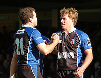 20,05/06 Powergen Cup Bath Rugby vs Bristol Rugby,  Chris Malone [left ] congratules Tom Cheesman on his second half try. Bath, ENGLAND, 01.10.2005   © Peter Spurrier/Intersport Images - email images@intersport-images..