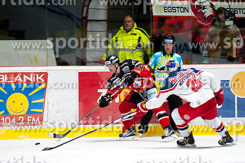 17.11.2015, Ice Rink, Znojmo, CZE, EBEL, HC Orli Znojmo vs EC Red Bull Salzburg, 21. Runde, im Bild v.l. Ondrej Sedivy (HC Orli Znojmo) Peter Hochkofler (EC Red Bull Salzburg ) // during the Erste Bank Icehockey League 21th round match between HC Orli Znojmo and EC Red Bull Salzburg at the Ice Rink in Znojmo, Czech Republic on 2015/11/17. EXPA Pictures © 2015, PhotoCredit: EXPA/ Rostislav Pfeffer