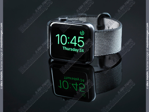Shiny steel Apple Watch series 2 smartwatch on black background