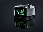 Shiny steel Apple Watch series 2 smartwatch on black background