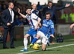 Kilmarnock v St Johnstone&hellip;09.04.16  Rugby Park, Kilmarnock<br />Chris Millar is fouled by Greg Kiltie<br />Picture by Graeme Hart.<br />Copyright Perthshire Picture Agency<br />Tel: 01738 623350  Mobile: 07990 594431