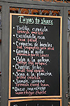 Tapas Menu in English and Spanish
