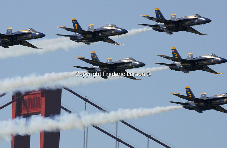 The Blue Angels arrived with a flourish this morning, wowing dozens of spectators who gathered to watch the spectacle in advance of Fleet Week..