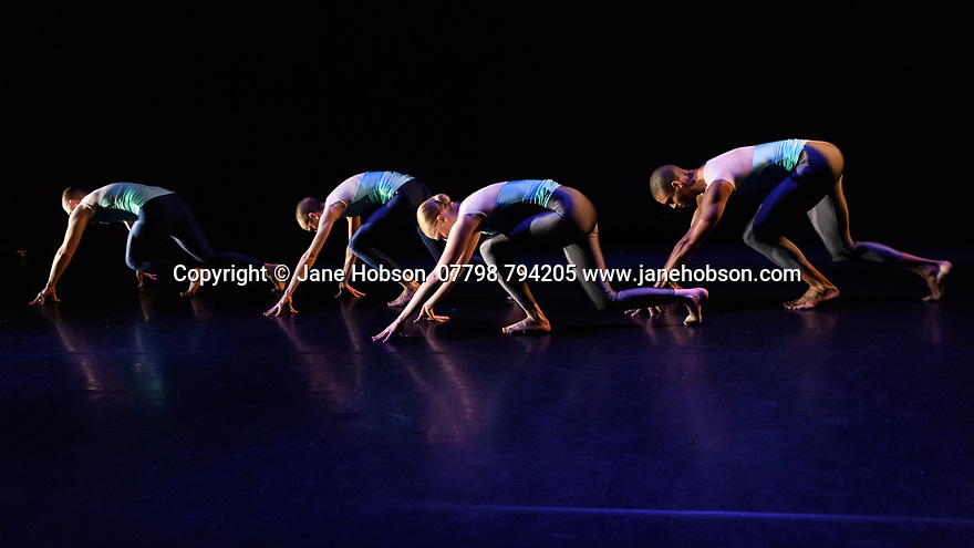"""Julie Cunningham & Company present """"Returning"""" and """"To Be Me"""", in a double bill, in The Pit, at the Barbican Centre. The piece shown is """"Returning"""". The dancers are: Julie Cunningham, Harry Alexander, Hannah Burfield, Alexander Williams."""