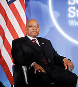 President Jacob Zuma of South Africa looks on during a bilateral meeting with President Barack Obama (not pictured) during the Nuclear Security Summit at the Blair House, Sunday, April 11, 2010 in Washington, DC. .Credit: Olivier Douliery / Pool via CNP