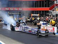 Jun 21, 2015; Bristol, TN, USA; NHRA top fuel driver Larry Dixon during the Thunder Valley Nationals at Bristol Dragway. Mandatory Credit: Mark J. Rebilas-