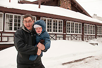 Photographer Aaron Peterson and son Josiah at the Keweenaw Mountain Lodge in Copper Harbor Michigan in winter.