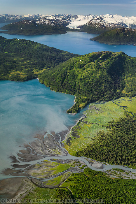 Aerial of Pigot Bay, Chugach mountains, Western Prince William Sound, Alaska