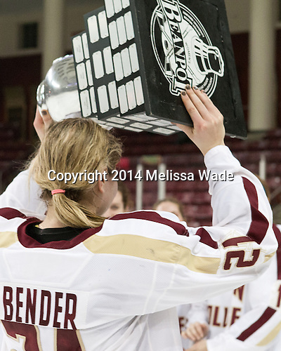Lexi Bender (BC - 21) - The Boston College Eagles celebrate winning the 2014 Beanpot championship on Tuesday, February 11, 2014, at Kelley Rink in Conte Forum in Chestnut Hill, Massachusetts.
