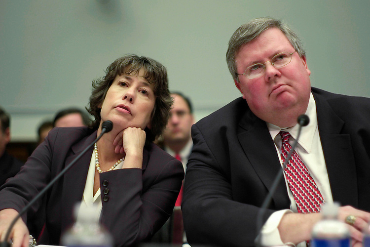 04/17/07--Sheila Bair, chairwoman of the Federal Deposit Insurance Corporation; and Brian Montgomery, assistant secretary of Housing and Urban Development for housing, testify during the House Financial Services on possible solutions to reduce the rising number of mortgage foreclosures. Lawmakers and regulators agreed Tuesday that Congress, local governments and private industry must act in concert to slow the record tide of foreclosures that continues to roil the economy. ÒThis is a problem that needs to be addressed at all levels of government,Ó Rep. Carolyn B. Maloney, D-N.Y., said at a House Financial Services Committee hearing. The specter of millions of Americans losing their homes has made the mortgage market a hot-button issue for lawmakers. Homeownership boomed during the first half of this decade, as low-interest rates, rapid price appreciation and hundreds of new mortgage product options made obtaining a mortgage easy even for those with ÒsubprimeÓ or blemished credit records. As homeowners, communities and lawmakers are now realizing, however, millions of those mortgages may be impossible for borrowers to repay. That is because a large percentage of the loans sold during the run up in housing were adjustable-rate mortgages (ARMs) that reset to a higher interest rate after an initial time period with lower monthly payments. Millions of those loans are in the process of resetting Ñ with some increasing by as 30 percent or more Ñ and a record number of borrowers are delinquent on their payments or facing foreclosure because of ballooning payments. The problem has been exacerbated by stagnating housing prices that mean some homeowners now owe more than their house is actually worth. Congressional Quarterly by Photo Scott J. Ferrell