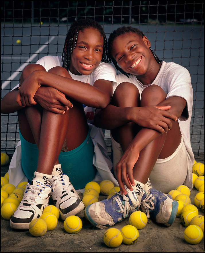 Tennis superstars Venus & Serena Williams photographed as 14- and 12-year-old tennis phenoms at the Rick Macci Tennis Academy