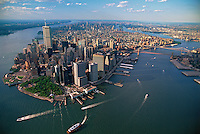 Aerial, Lower Manhattan, in 1990&quot;s, Battery Park