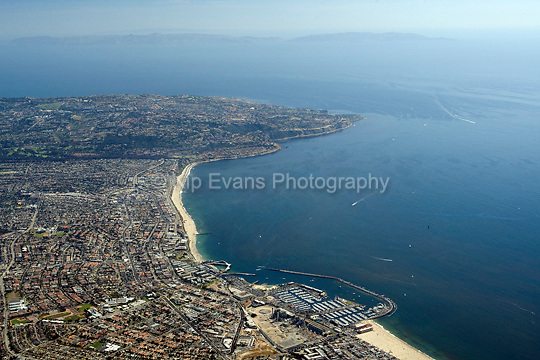 Aerial view looking south/southwest from Redondo Beach toward Palos Verdes.