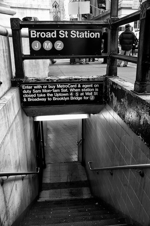Braoad Street subway station in Manhattan, New York. November 2008