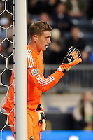 Philadelphia Union goalkeeper Zac MacMath (18) sets up a wall. The Philadelphia Union and the Vancouver Whitecaps played to a 0-0 tie during a Major League Soccer (MLS) match at PPL Park in Chester, PA, on March 31, 2012.