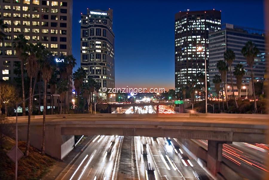 US 101, Harbor Freeway, LA, Skyline, Dusk, Los Angeles, California, USA, Car trails of the freeways of downtown Los Angeles at night High dynamic range imaging (HDRI or HDR)