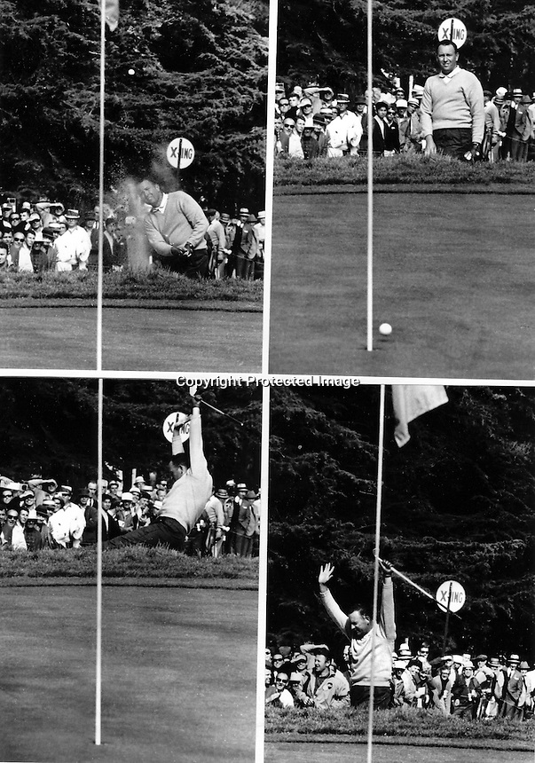 Billy Casper blasting out of the bunker for a birdie on the 17th hole at the Olympic Club in San Francisco during the 1966 U.S.Open which was won by Casper in a play-off with Arnold Palmer..(1966 copyright photo by Ron Riesterer)