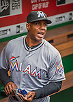 7 April 2016: Miami Marlins hitting coach Barry Bonds  chats in the dugout prior to the Washington Nationals Home Opening Game at Nationals Park in Washington, DC. The Marlins defeated the Nationals 6-4 in their first meeting of the 2016 MLB season. Mandatory Credit: Ed Wolfstein Photo *** RAW (NEF) Image File Available ***