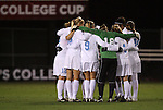04 December 2009: North Carolina players huddle before the start of the game. The University of North Carolina Tar Heels defeated the Notre Dame University Fighting Irish 1-0 at the Aggie Soccer Complex in College Station, Texas in an NCAA Division I Women's College Cup Semifinal game.