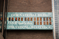 The National Debt Clock in New York  showing the US debt approaching $20 trillion is seen on Thursday, January 26, 2017. The U.S. national debt is considered just weeks away from hitting the $20 trillion mark. Real-estate mogul, the late Seymour Durst, created the clock on Feb. 20, 1989 to call attention to  Reaganomics. (© Richard B. Levine)