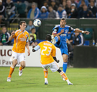 SANTA CLARA, CA – OCTOBER 16: San Jose Earthquakes defender Jason Hernandez (21) during a soccer match at Buck Shaw Stadium, October 16, 2010 in Santa Clara, California. Final score San Jose Earthquakes 0, Houston Dynamo 1.