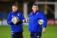 Bath Rugby first team coaches Barry Maddocks and Toby Booth. Anglo-Welsh Cup match, between Bath Rugby and Leicester Tigers on November 4, 2016 at the Recreation Ground in Bath, England. Photo by: Patrick Khachfe / Onside Images
