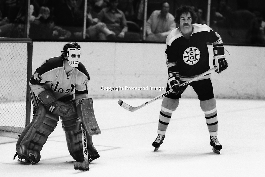 Seals Goalie Gilles Meloche, and Boston Bruins Derek Sanderson. (1973 photo by Ron Riesterer)