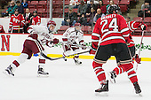 Sean Malone (Harvard - 17) scores. - The Harvard University Crimson defeated the visiting Rensselaer Polytechnic Institute Engineers 5-2 in game 1 of their ECAC quarterfinal series on Friday, March 11, 2016, at Bright-Landry Hockey Center in Boston, Massachusetts.